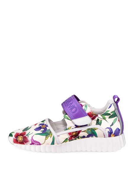 Avigna Floral-Print Platform Neoprene Sneakers