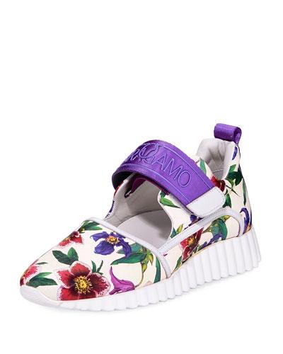 Floral-Print Platform Neoprene Sneaker