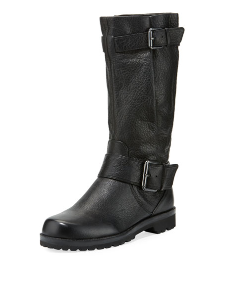 Buckled Crinkled Moto Boot