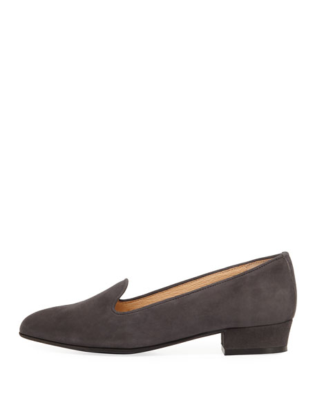 Ariele Chunky-Heel Loafer, Dark Gray