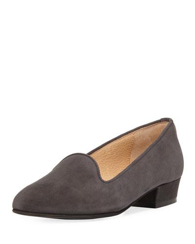 Ariele Chunky-Heel Loafer, Dark Gray