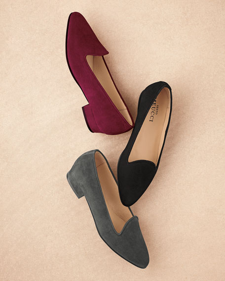 Ariele Comfortable Suede Chunky-Heel Loafer Pump