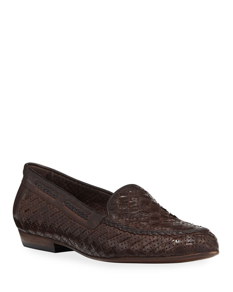 Nellie Woven Perforated Loafer, Dark Brown