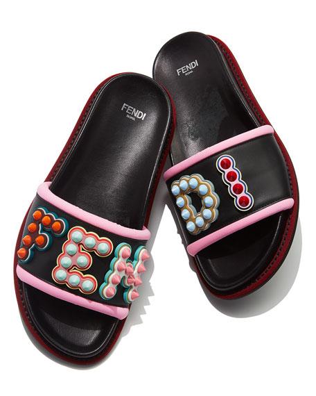 Fun Fair Flat Slide Sandal, Black