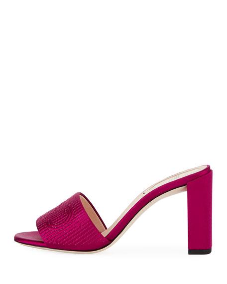 Stripy Satin 85mm Slide Mule, Pink