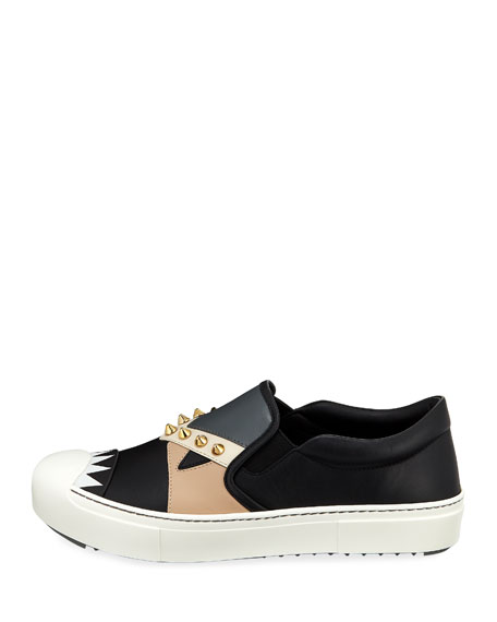 Bugs Leather Slip-On Sneaker, Black