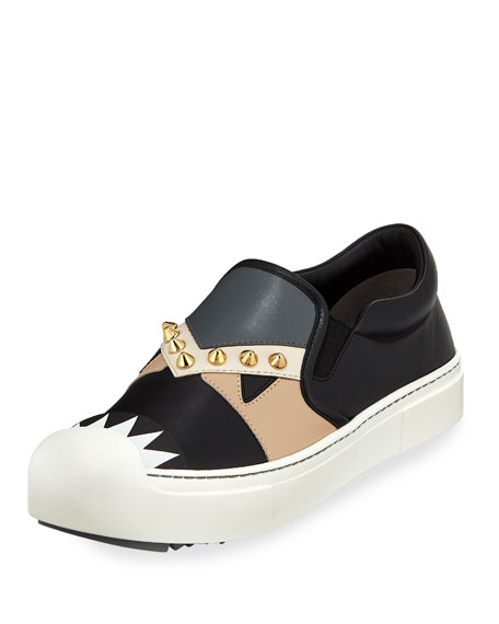 Fendi Bugs Leather Slip-On Sneaker, Black