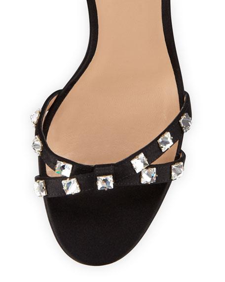 Rockstud Glam Satin City Sandal, Black