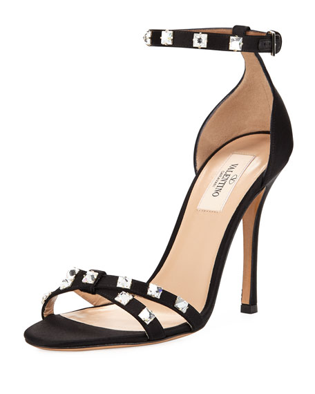 Valentino Garavani Rockstud Glam Satin City Sandals, Black