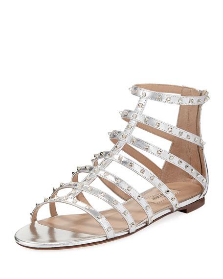 Valentino Garavani Lovestuds Caged Metallic Flat Sandal