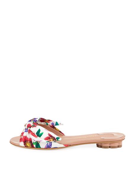 Chianni Flat Floral-Print Silk Slide Sandal