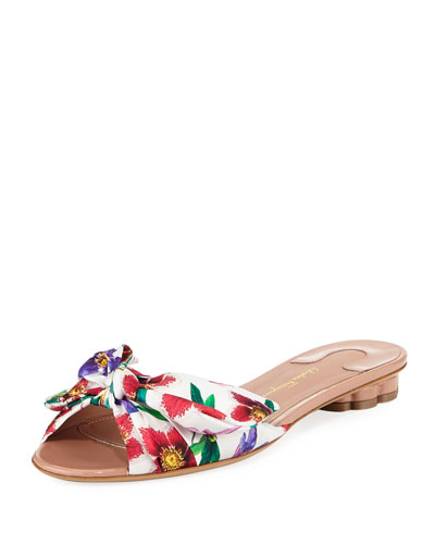 Flat Floral-Print Silk Slide Sandal