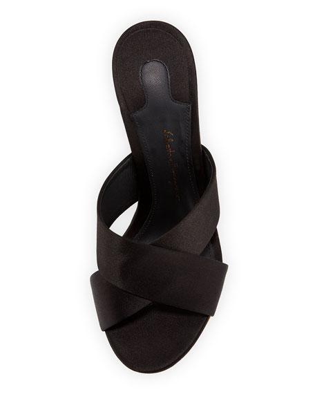 Alcamo Satin Floating Wedge Slide Sandal, Nero