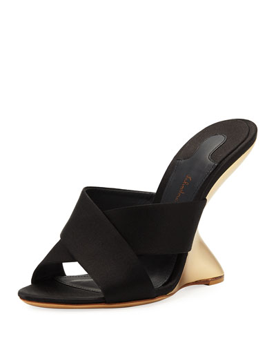 Satin Floating Wedge Slide Sandal, Nero