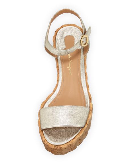 Tropea Metallic Platform Cork Wedge Sandal, Sahara