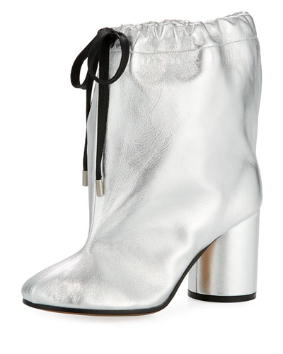 Metallic Leather Drawstring 85mm Bootie