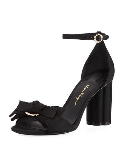 Flower-Heel Grosgrain 85mm Sandal