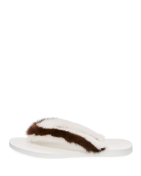 Two-Tone Flat Fur Thong Sandal