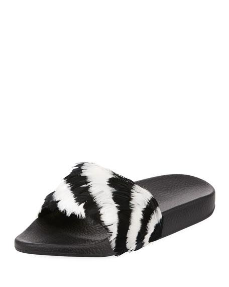 Valentino Garavani Free Feathers Pool Slide Sandal