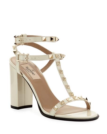 Valentino Garavani Rockstud Patent Leather 90mm City Sandal