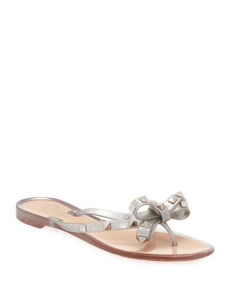 Valentino Garavani Rockstud Metallic Jelly Flat Thong Sandal