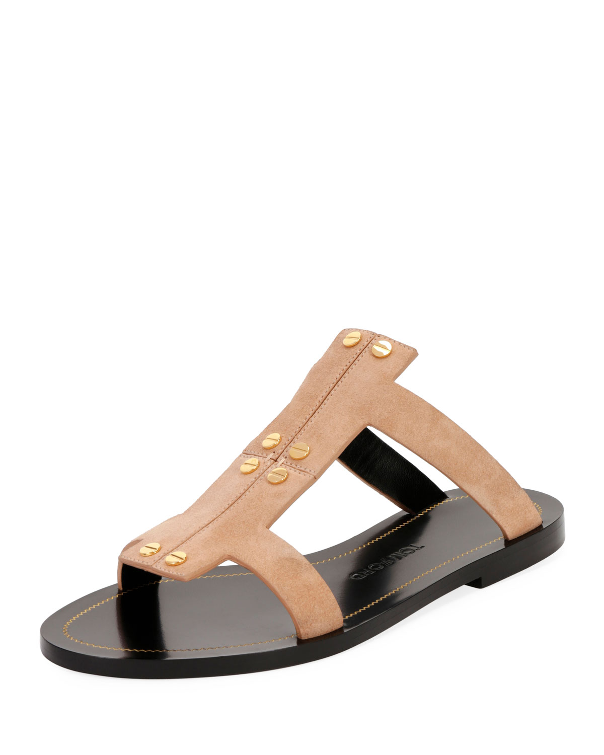 37aeac2dd15726 TOM FORD Studded Suede Flat Caged Sandal