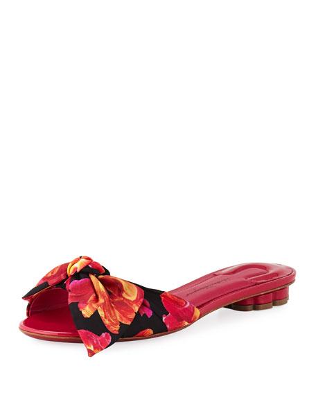 Salvatore Ferragamo Chianni Floral-Print Silk Slide Sandal