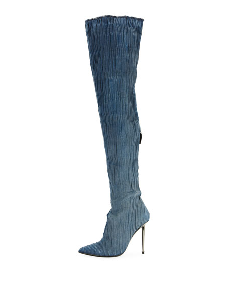 Pleated Over-The-Knee Denim Boot