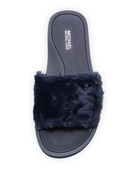 MK Faux-Fur Flat Slide Sandal