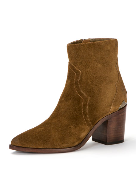 Flynn Short Suede Boot with Metal Plate