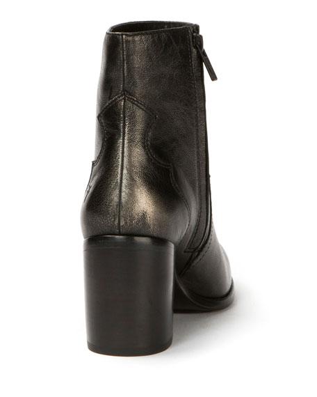 Flynn Metallic Leather Bootie, Pewter