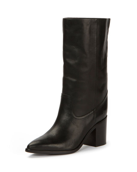 Frye Flynn Leather Mid-Calf Pull-On Boot