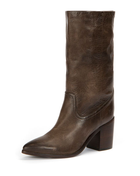 Flynn Antiqued Leather Mid-Calf Pull-On Boot