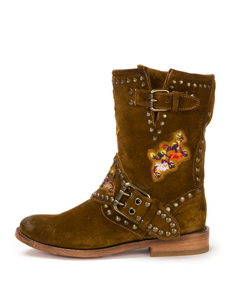 Nat Flower Studded Suede Boot, Wheat