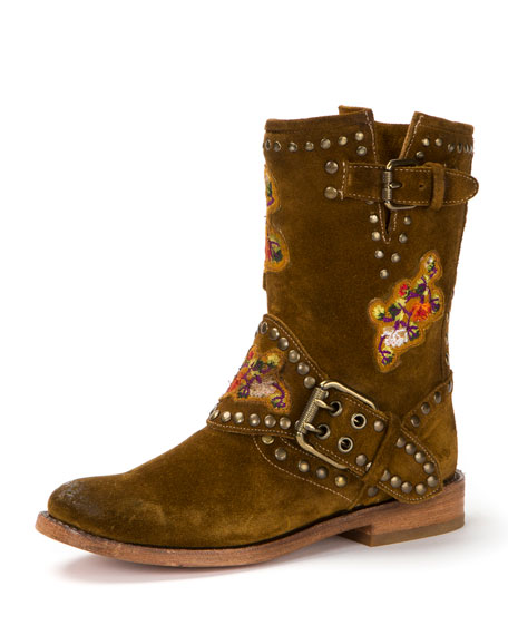 Frye Nat Flower Studded Suede Boot, Wheat