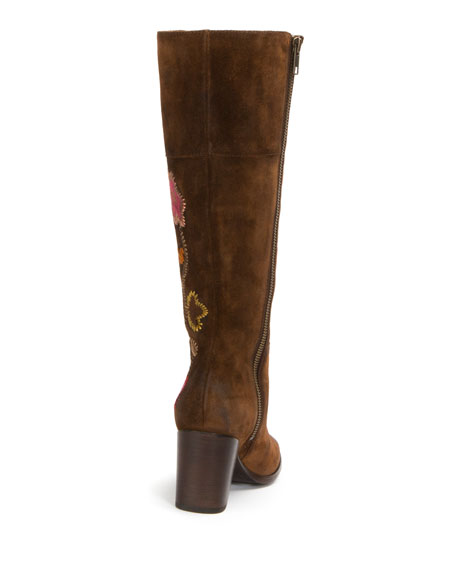 Nova Flower Tall Suede Boot, Brown