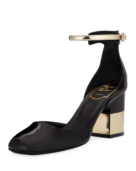 ROGER VIVIER Mary Jane Podium Square In Patent Leather in Black