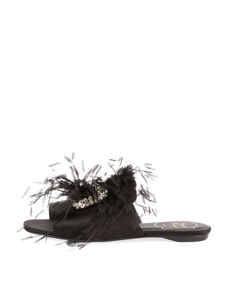 Rabat Feather Flat Mule Sandal