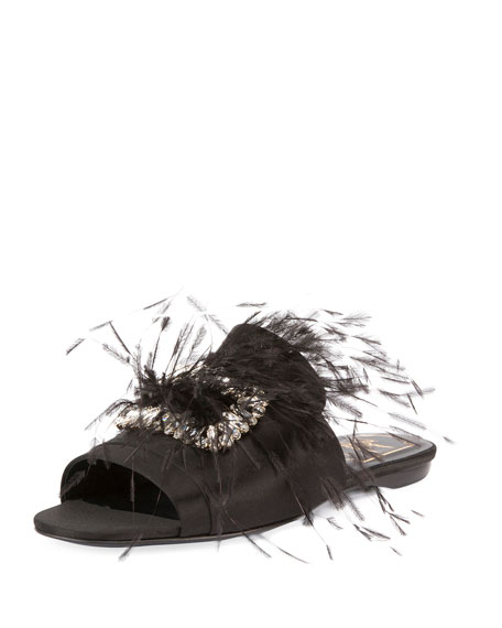 Rabat Feather Flat Mule Sandal