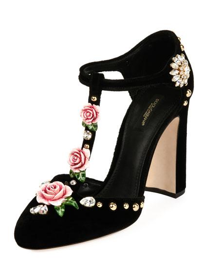 Dolce & Gabbana Velvet Embellished T-Strap Pump