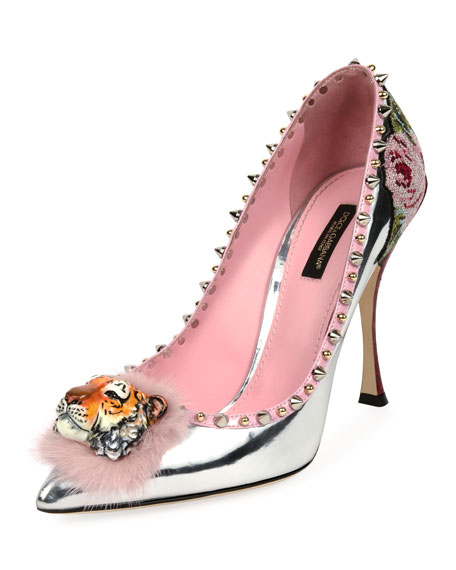 Metallic Spiked Tiger-Toe Pump