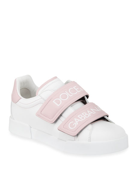 Dolce And Gabbana White And Pink Double Strap Sneakers