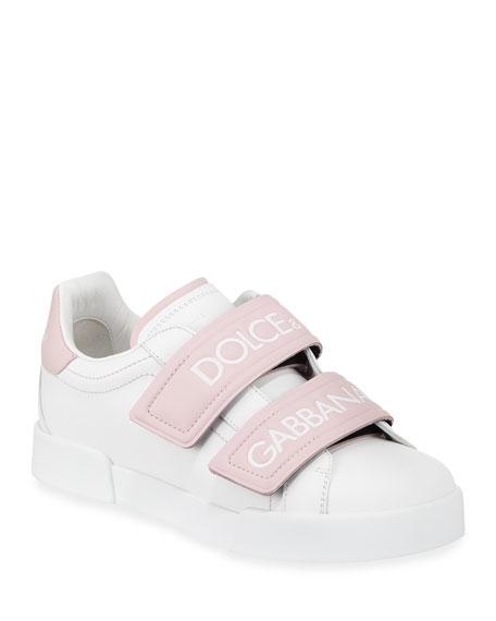 Dolce & Gabbana Double-Strap Logo Sneaker, White