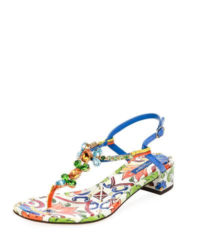Maiolica Tile-Print Jeweled Thong Sandal