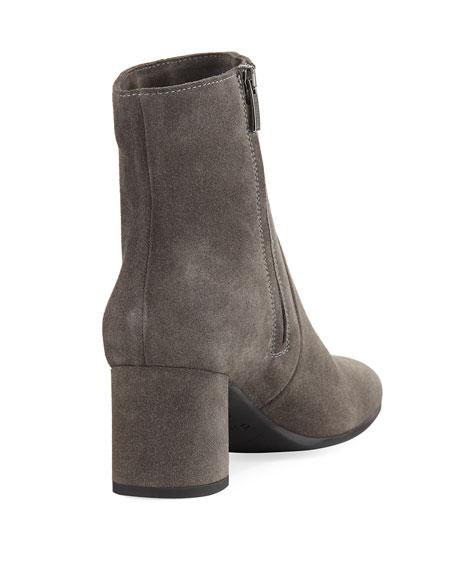 JoJo Suede Block-Heel Booties
