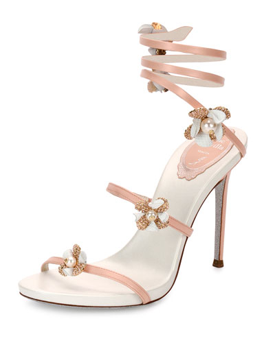 fc21d260ca97a2 Rene Caovilla Floral Snake 105mm Sandal from Neiman Marcus - Styhunt