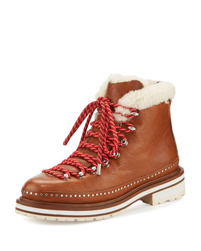Compass Shearling Fur-Lined Hiking Boot, Tan