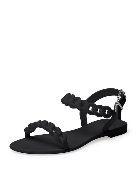 Givenchy Jelly Chain-Link Flat Sandal, Black