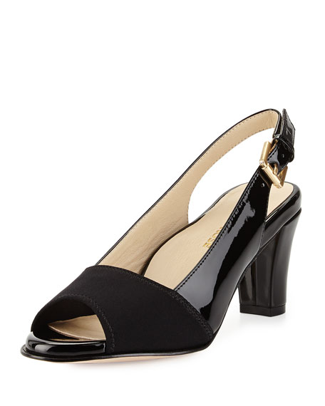 Taryn Rose Fortula Peep-Toe Slingback Pump, Black