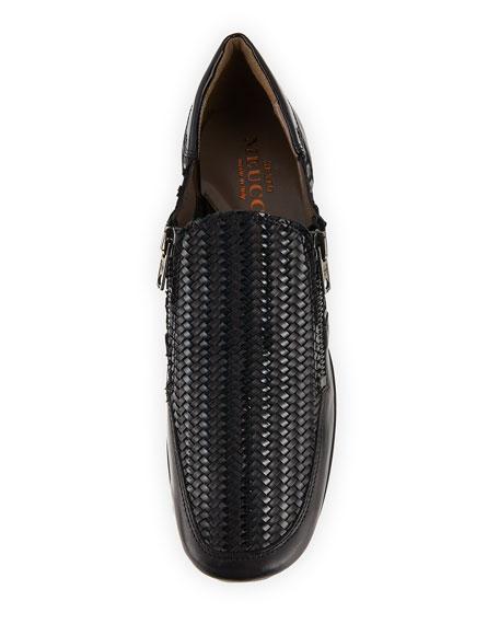 Ganice Woven Zip-Up Sneakers, Black